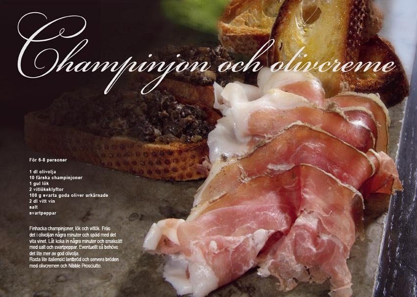 Recept Champinjon och olivcreme Nibble