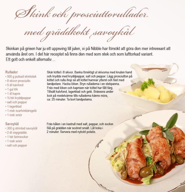 Recept Skink och prosciuttorullader Nibble